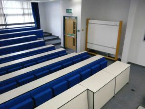 Removable desks in lecture theatre to allow wheelchair access