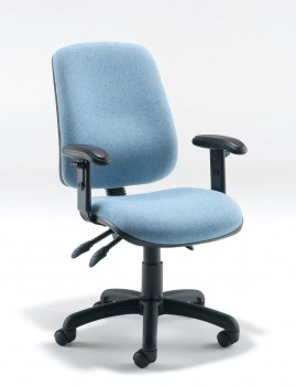 High back operator chair with enhanced lumbar support
