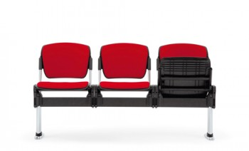 Sentinel waiting area beam seating upholstered in red fabric