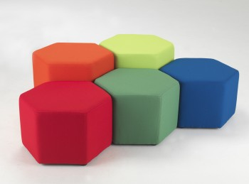 Multi coloured hexagon shaped seats for children