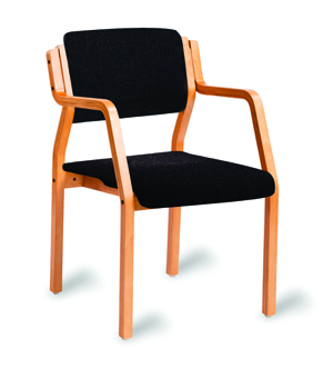 Bent wood stacking chair with arms