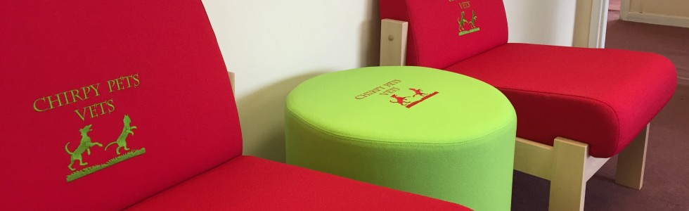 Reception seating in a vets practice personalised wiith embroidered logo