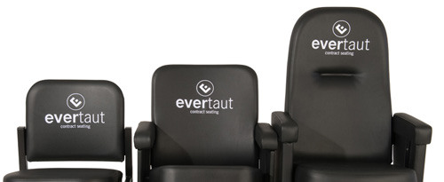 Range of Evertaut seats personalised with embroidered logos on seat backs