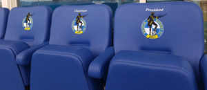 Executive seating at Bristol Rovers FC with embroidered logo on seat backs
