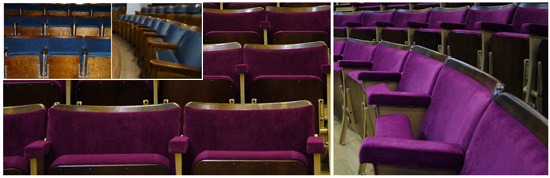 Theatre auditorium before and after refurbishment by Evertaut Ltd