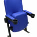 Stadium seating refurbished in blue vinyl with cup holders