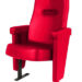 Executive stadium seat upholstered in bright red vinyl, manufactured by Evertaut Ltd