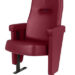 Executive stadium seat upholstered in dark red vinyl, manufactured by Evertaut Ltd