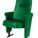 Executive stadium seat upholstered in deep green coloured vinyl, manufactured by Evertaut Ltd