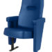 Executive stadium seat upholstered in deep blue vinyl, manufactured by Evertaut Ltd