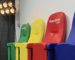 Evertaut's Olympian stadium seating in different vinyl colours at fansChat head office