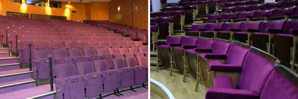 Two different theatre auditoriums with purple theatre seats by Evertaut
