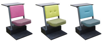Diploma lecture theatre seating in pink, green and blue with different style backs