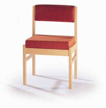 Solid beech hardwood visitors chair with upholstered seat and back