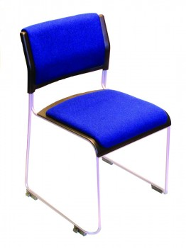 Profile stacking chair with upholstered pads