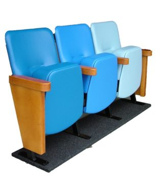 Row of 3 hospital waiting room seats upholstered in blue antimicrobial vinyl