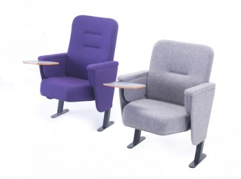 Purple and grey conference chairs with folding writing tablet