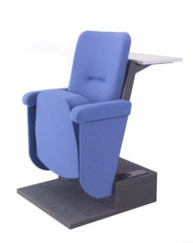 Angled view of Evertaut blue lecture theatre seat with desk