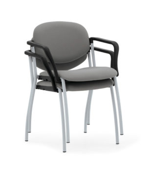 Grey stacking chairs with chrom frame from Evertaut Ltd