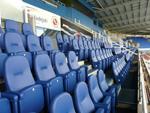 Evertaut's Olympian stadium seating in dark blue vinyl
