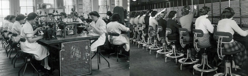 Factory and telephone exchange workers sitting on Evertaut vintage chairs