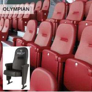 Red Olympian stadium seats in a football stadium