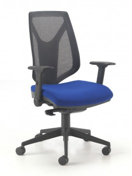 ME09 Evertaut blue office chair with black mesh back