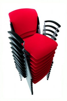 Sentinel red stacking chair with arms