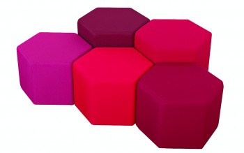 Hexagon shaped upholstered break out seats
