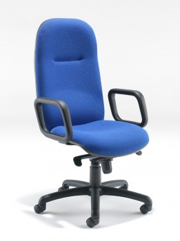 Evertaut 5600 Mid Back Executive Chair with two piece seat and back upholstered in blue fabric