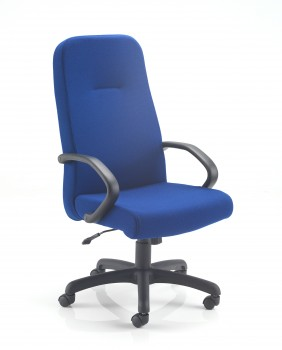 6905A HIgh Back Executive Chair with one piece seat and back upholstered in blue fabric