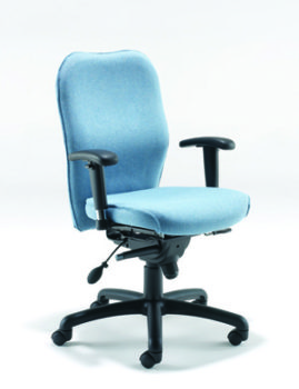 8004 High back chair with inflatable lumbar support and memory foam seat cushion
