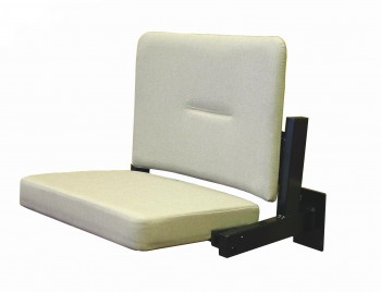 Solarush wall mounted flip up seat upholstered in white fabric shown with seat down