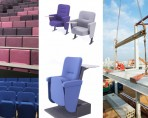 Lecture theatre seating in various styles and fabric colours and construction site