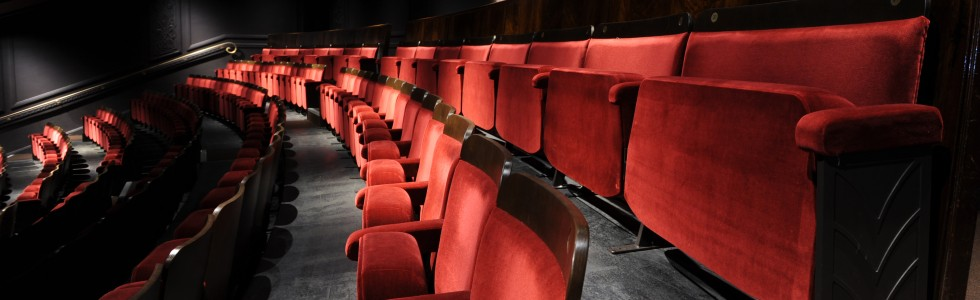 Double width love seats on back row of theatre circle
