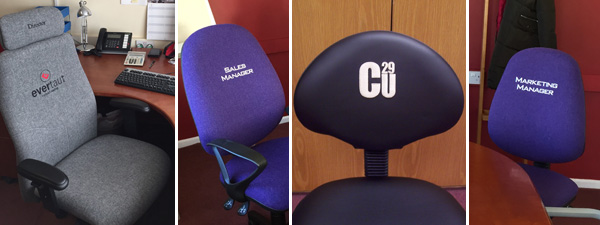 Selection of office chairs with embroidered logos on seat backs