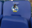 Close up of embroidered club badge on Evertaut VIP stadium seating at Bristol Rovers FC