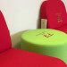 Personalised seating in a reception area with company logo embroidered on seat backs