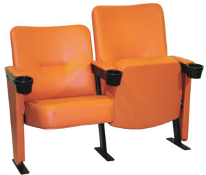Executive stadium seating in orange vinyl refurbished by Evertaut Ltd