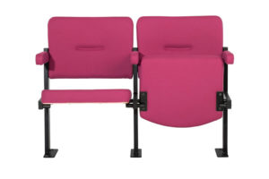 2 Solar Theatre chairs upholstered in red fabric