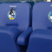 Executive stadium seating at Bristols Rovers FC with club badge embroidered onto seat backs