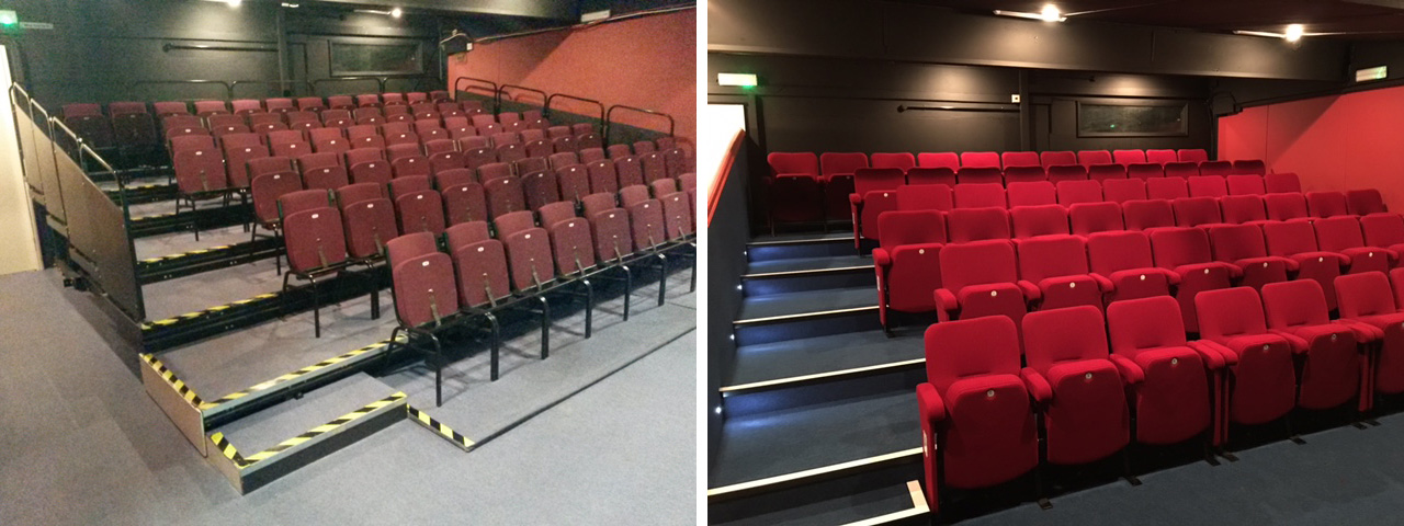 Before and after installation of new seating by Evertaut Ltd at Formby Little Theatre