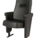 Executive stadium seat upholstered in black vinyl, manufactured by Evertaut Ltd