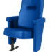 Executive stadium seat upholstered in bright blue vinyl, manufactured by Evertaut Ltd