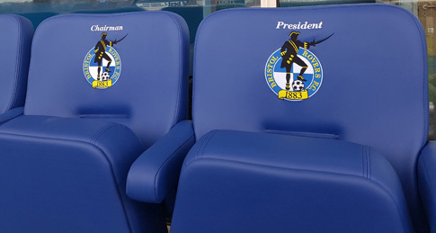 Chairman and President seats in executive area at Bristol Rovers FC embroidered with club badge and job title