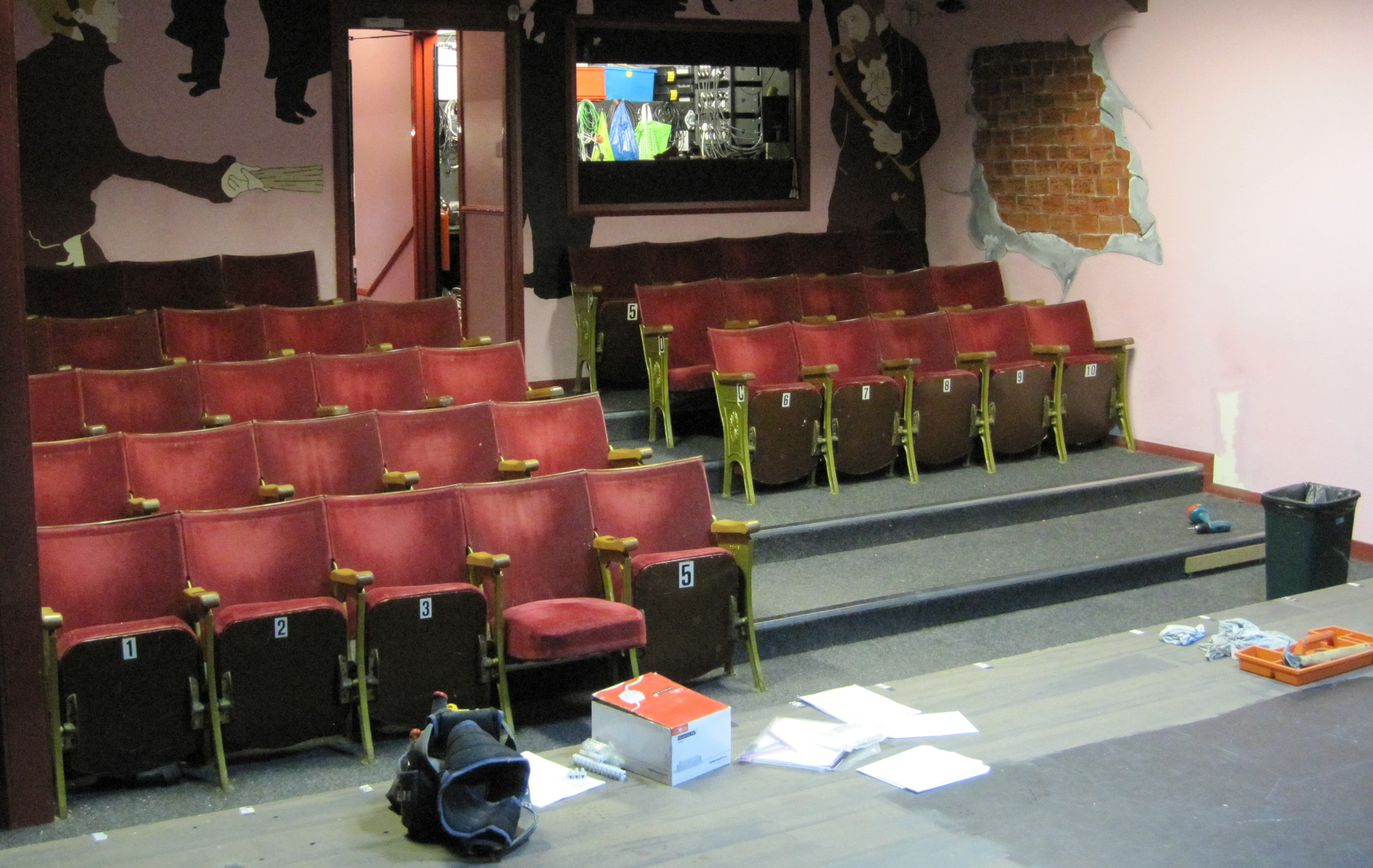 Old seats being removed from Auditorium at Dibble Tree Theatre