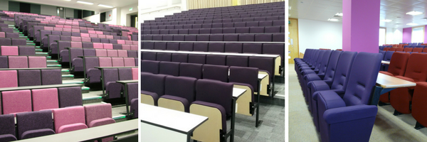 3 different university lecture theatres with seating upholstered in various shades of purple