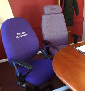 Meeting room office chairs in purple and grey
