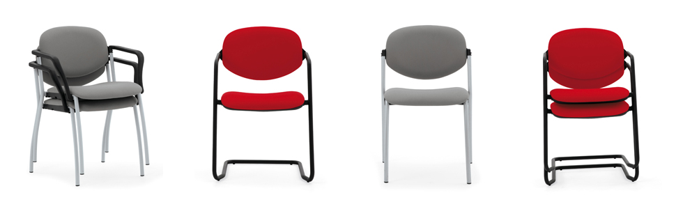 Evertaut Delegate Stacking Chairs upholstered in grey fabric with silver frame and red fabric with black cantilever frame
