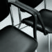 Close up of Evertaut Delegate stacking chairs showing optional linking bracket